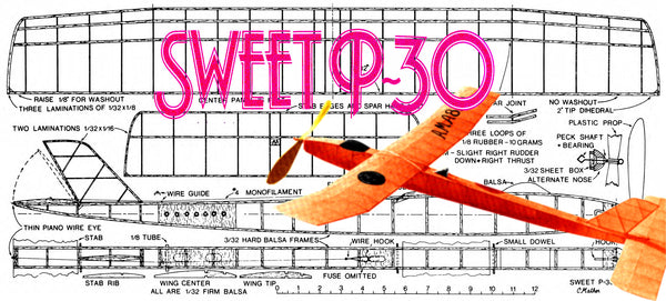 Full Size printed Model Freeflight airplane plan for SWEET P-30