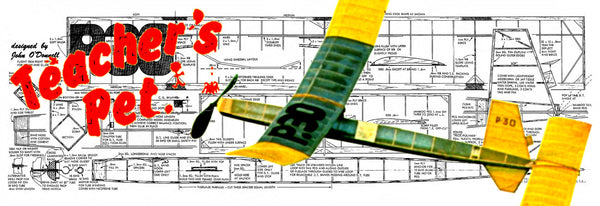 Full Size printed Model freeflight airplane plan for Teacher's Pet P·30