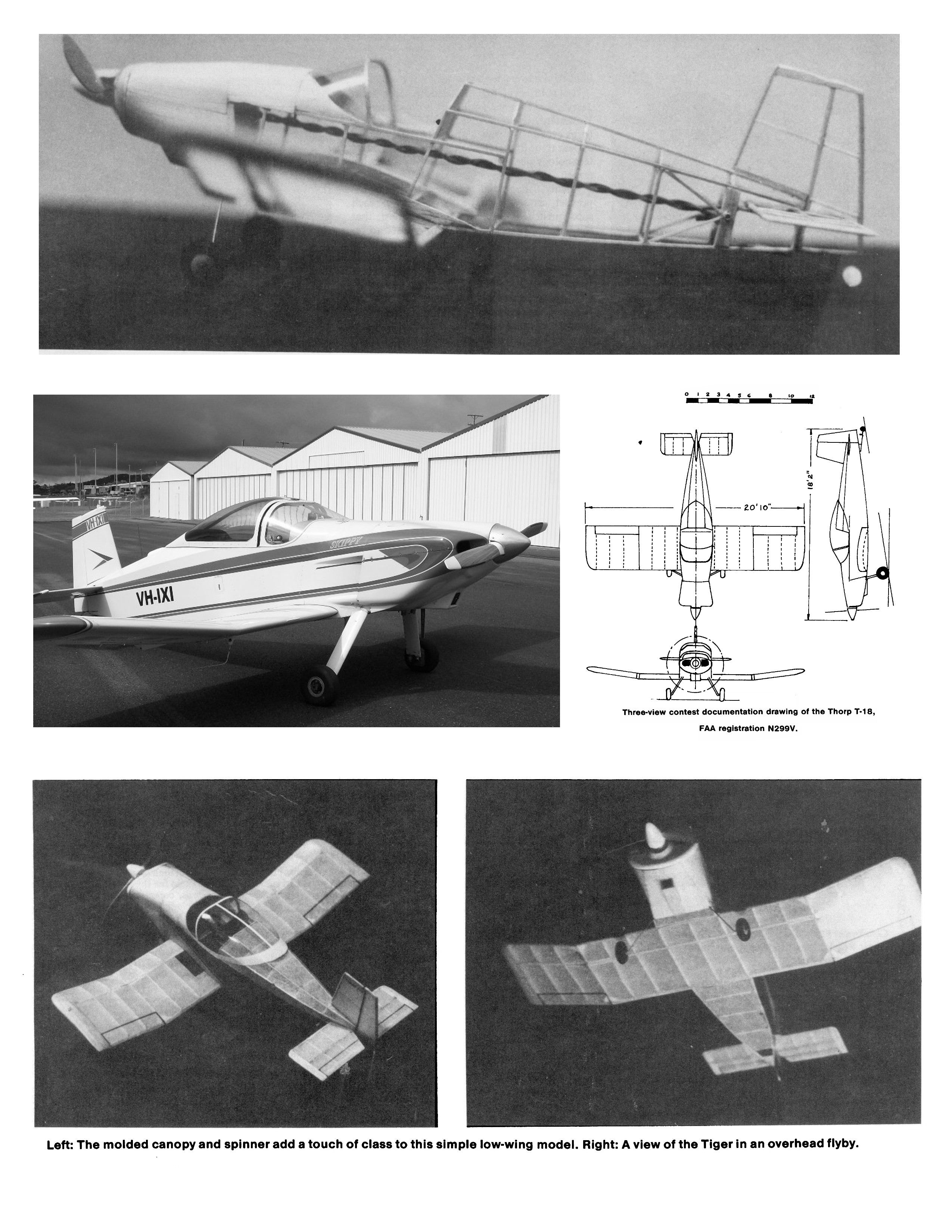 "Full size printed plans Peanut Scale ""Thorp T-18 Tiger""  flight-trims rather easily."