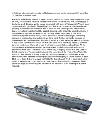"Build a Semi submersible Semi Scale 1/65  Length 46"" Type IX U Boat Full size printed plan"