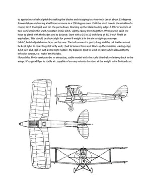 "Full size printed plans Peanut Scale ""TIGER MOTH 82-A"" can be built under 6-1/2 grams."
