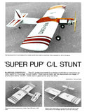 Full Size PLANS Vintage 1975 Control Line Stunter .36 'SUPER PUP'  good one for your first effort