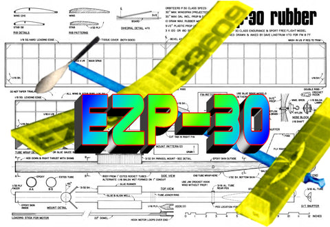 Full Size printed Model freeflight airplane plan & Build notes for EZ P 30