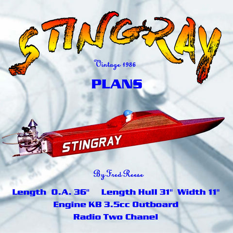 "Full Size Printed Plan 3.5 outboard sport day cruiser ""STINGRAY"" For Radio Control snappy easy to build"