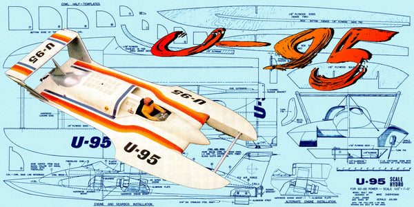 "Build a 1:8 scale 45"" R/C  Unlimited U 95 Hydroplane Full size prined plans"