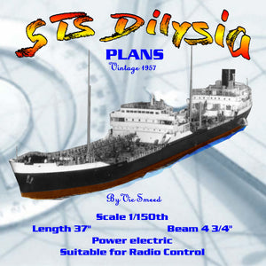 "Full Size Printed Plan Scale 1/150 18000 ton Shell oil tanker ""STS Dilysia"" Suitable for Radio Control"
