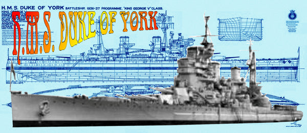 Full Size Printed 1:192 scale Drawing  British battleship H.M.S. DUKE OF YORK with Article