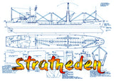 "Full Size Printed Scale Drawing Scale 1:192 Cargo ship with heavy lifting ""Stratheden"" Suitable for Radio Control"