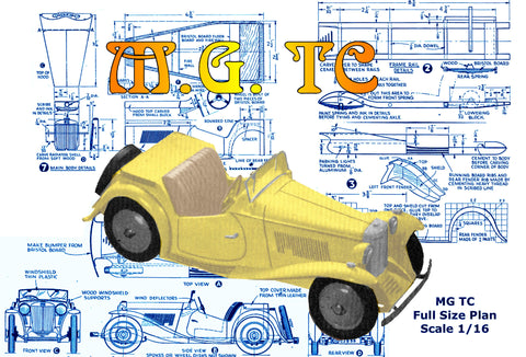"FULL SIZE PRINTED PLAN and ARTICLE M. G. MIDGET TC Scale 1:16 (3/4""=1ft)"