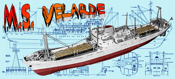"Full size printed plans Scale 1:96  LENGTH 42"" M.S. VELARDE  FRUIT SHIP for R/C"