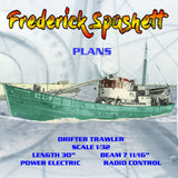 "Full Size Printed Plans SCALE 1/32 DRIFTER TRAWLER L 30"" Suitable for Radio Control"