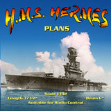 "Full size Printed Plans aircraft carrier Scale 1/192 H.M.S. HERMES L 37 1/2"" Suitable for Radio Control"