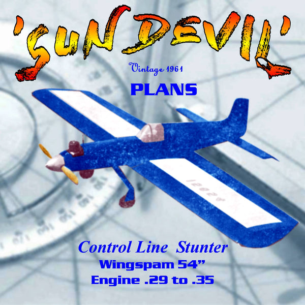 "Full size printed plans & article Old Time Stunt 1961 control line 54""w/s .34 engine Sun devil plans"