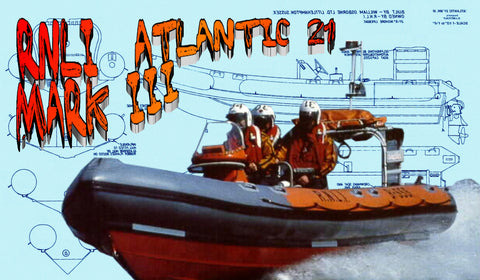 "Full size printed plans 1:8 Scale L32"" RNLI 21ft 6 in ATLANTIC 21 MARK III for R/C"