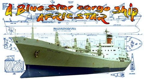 "Full size printed plans for 1:144 Blue Star cargo ship  reefer L42"" cargo ship"