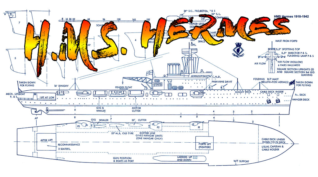 Full size Printed Plans aircraft carrier Scale 1/192 H.M.S. HERMES Aircraft Carrier Schematic Diagram on