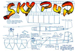 "Full size printed plans Peanut Scale ""SKY PUP"" . Construction is simple, flying superb."