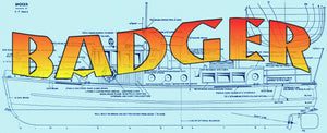 "Build a Big Semi-Scale 47"" custom launch Badger  for eadio control full size printed plans"