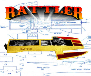 "Racing Boat Outrigger Rattler L 22 1/2"" Twin TD.049 Full size printed plan & article for radio control"