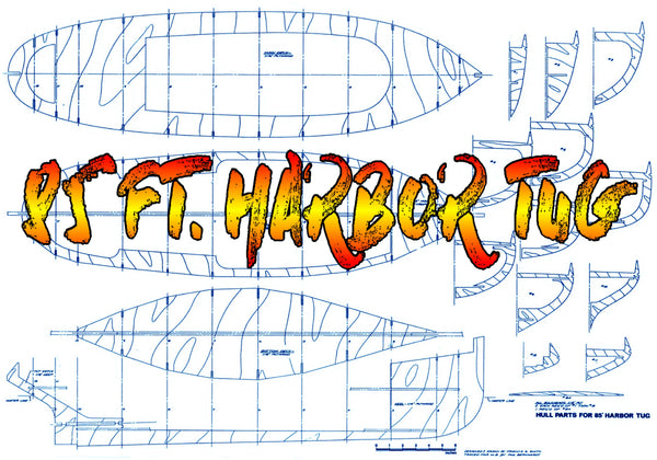 "WW II Army 85"" tug boat scale 1:28 L 37"" full size printed plans and i – Vintage Model Plans"