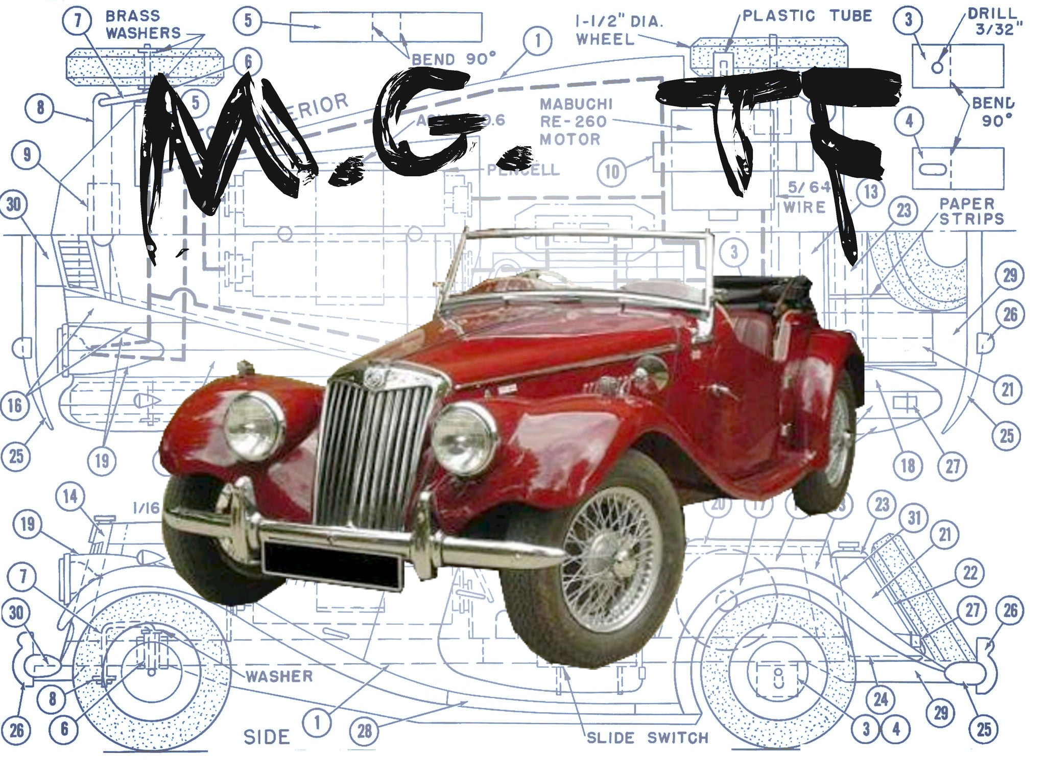 FULL SIZE PRINTED PLAN and ARTICLE The Immortal MG TF Scale 1:16