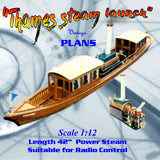 "Full size printed plan to Build a thames steam launch 1:12 Scale 42"" for radio control"