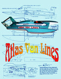 Build a Radio Control three point 1:15 semi-­scale Atlas Van Lines hydroplane. Full Size printed Plans