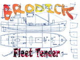 "Full size Printed Plans Scale 1:48  L 19 13/16"" BRODICK Fleet Tender Suitable for small radio control or Display"