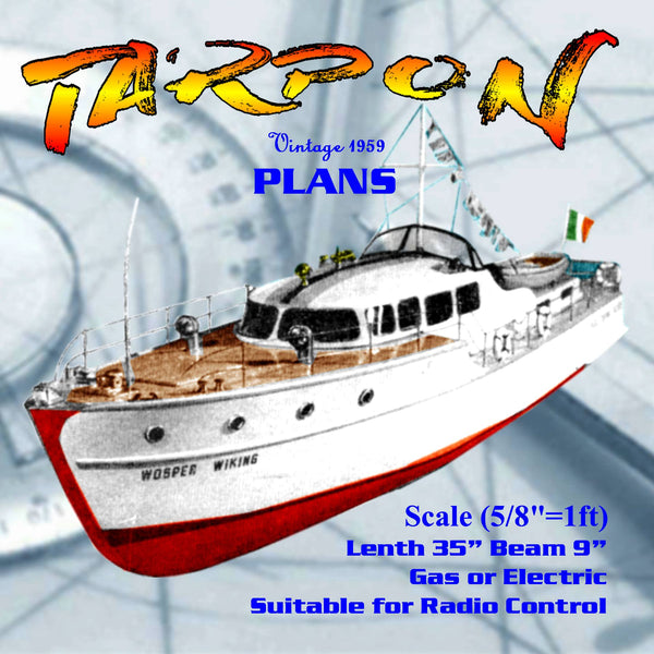 "Full size printed plan to build a  Italian-designed cabin cruiser Scale 5/8""=1ft 35"" for radio control"