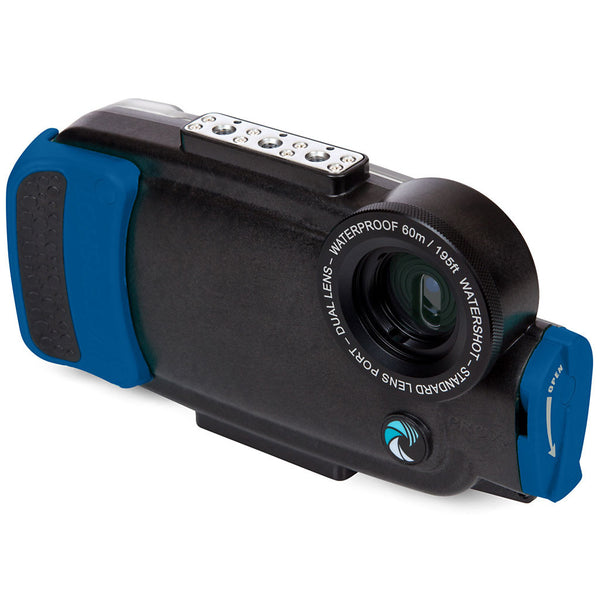 Watershot® PRO Line Housing iPhone® 7 Plus / 8 Plus Dual-Lens Black/Snorkel Blue