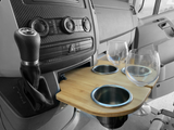 Sprinter Cupholder, snack tray, Bamboo and stainless