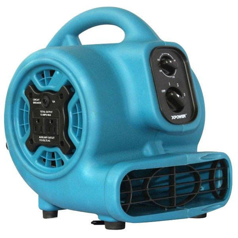 Air Mover - XPOWER P-230AT 1/5 HP Mini Air Mover With Timer & Power Outlets For Daisy Chain