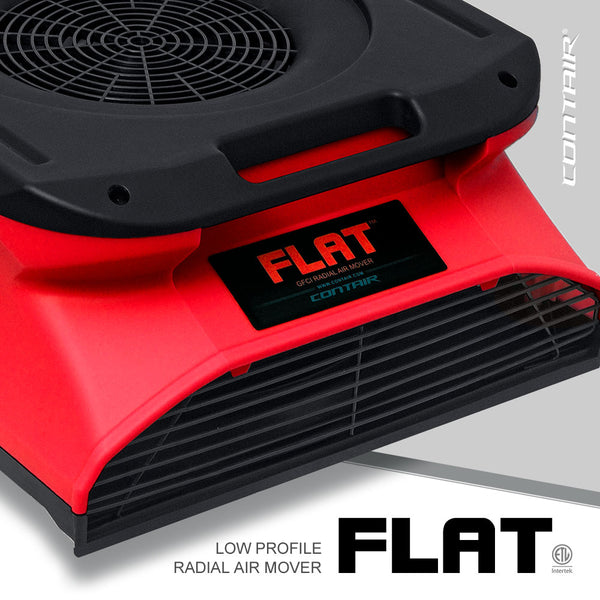 Contair® FLAT 1/4 HP Low Profile GFCI Radial Air Mover in Red