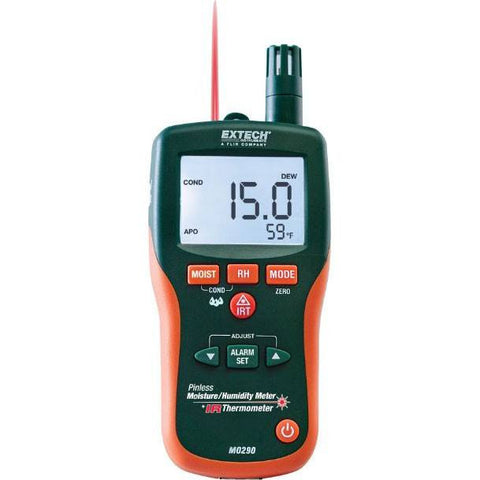 Moisture Meter - Extech® MO290 Moisture Meter Automatic Moisture Meter With Infrared Thermometer Green Color