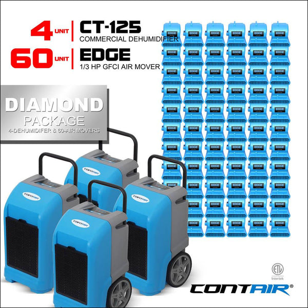 Packs - Contair® Diamond Package Includes 4X CT-125 Commercial Dehumidifier And 60X Edge Air Movers