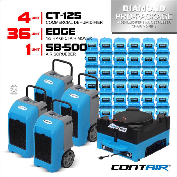 Packs - Contair® Diamond Pro-Package Includes 4X CT-125 Commercial Dehumidifier And 36X Edge Air Movers 1X SB-500 Air Scrubber