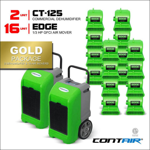Packs - Contair® Gold Package Includes 2X CT-125 Commercial Dehumidifier And 16X Edge Air Movers