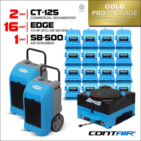 Packs - Contair® Gold Pro-Package Includes 2X CT-125 Commercial Dehumidifier And 16X Edge Air Movers 1X SB-500 Air Scrubber