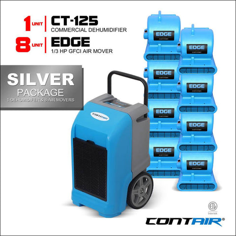 Packs - Contair® Silver Package Includes 1X CT-125 Commercial Dehumidifier And 8X Edge Air Movers