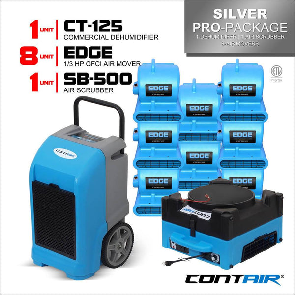 Packs - Contair® Silver Pro-Package Includes 1X CT-125 Commercial Dehumidifier And 8X Edge Air Movers 1X SB-500 Air Scrubber