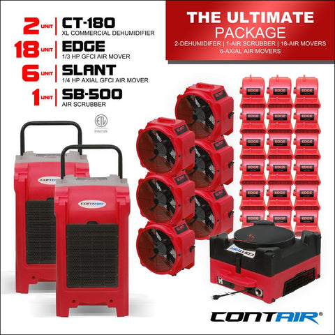 Packs - Contair® The Ultimate Package Includes 2X CT-180 Commercial Dehumidifiers And 18X Edge Air Movers 6X Slant Axial Fans 1X SB-500 Air Scrubber