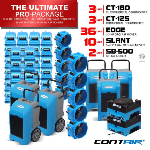 Packs - Contair® The Ultimate Pro Package Includes 3X CT-180 Commercial Dehumidifiers | 3X CT-125 Commercial Dehumidifiers | 36X Edge Air Movers | 10X Slant Axial Fans | 2X SB-500 Air Scrubbers