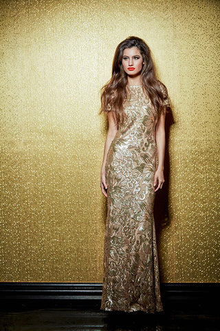NATY GOLD SEQUIN MAXI DRESS