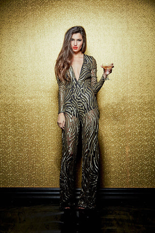 LIZZO GOLD ALLOVER SEQUINS JUMPSUIT