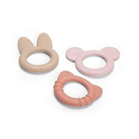 Tiny Teether Rings Pink - Set of 3