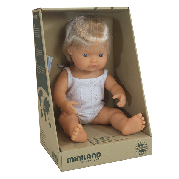 Miniland Doll - Anatomically Correct Baby, Caucasian Boy, 38 cm - Wildwood Lane