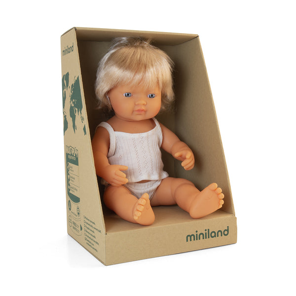 Miniland Doll - Anatomically Correct Baby, Caucasian Girl, 38 cm - LAST ONE