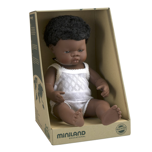 Miniland Doll - Anatomically Correct Baby, African Boy, 38 cm - Wildwood Lane