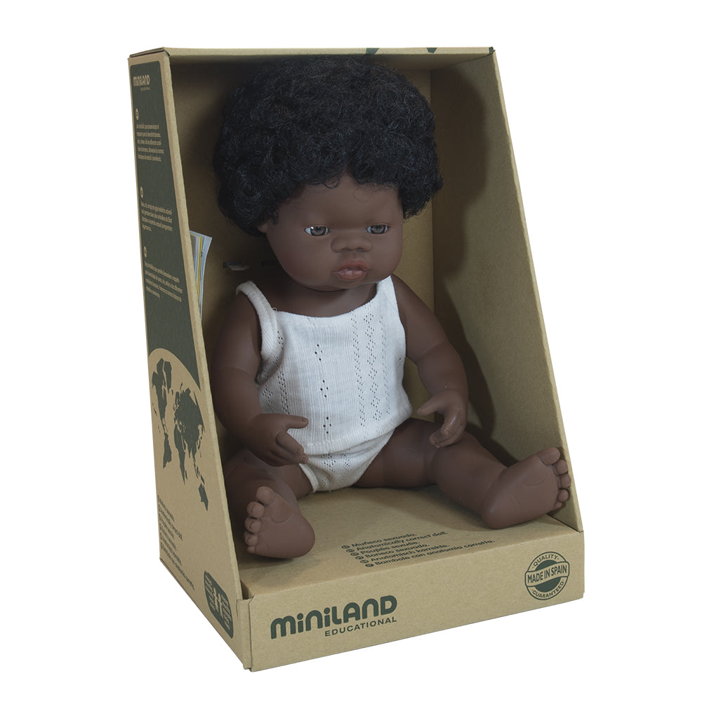 Miniland Doll - Anatomically Correct Baby, African Girl, 38 cm - Wildwood Lane