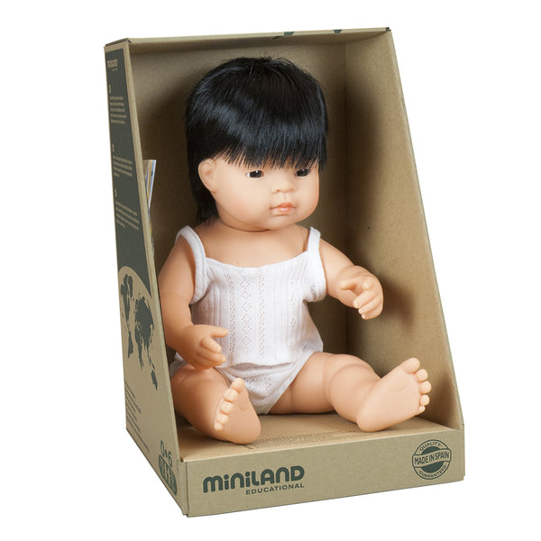 Miniland Doll - Anatomically Correct Baby, Asian Boy, 38 cm - Wildwood Lane